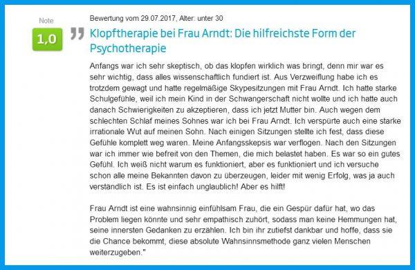 Jameda Bewertung für Karin Arndt EFT